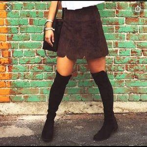 Zara brown suede skirt with scalloped hem